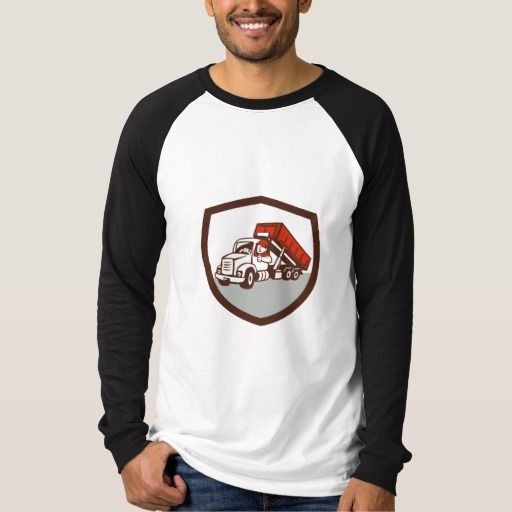 Roll-Off Bin Truck Driver Thumbs Up Shield Cartoon Tee Shirt. Illustration of a roll-off bin truck driver smiling with thumbs up viewed from front set inside shield crest done in cartoon style. #Illustration #Roll-OffBinTruckDriverThumbsUp
