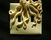 Green Steampunk Octopus Double Light Switch Cover, key chain holders. Animal, wall art, sculpture, wall decor, decorative arts.. $27.00, via Etsy.