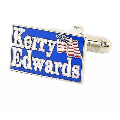 Silvertone John Kerry 2004 Election Cufflinks (Blue), Men's, White