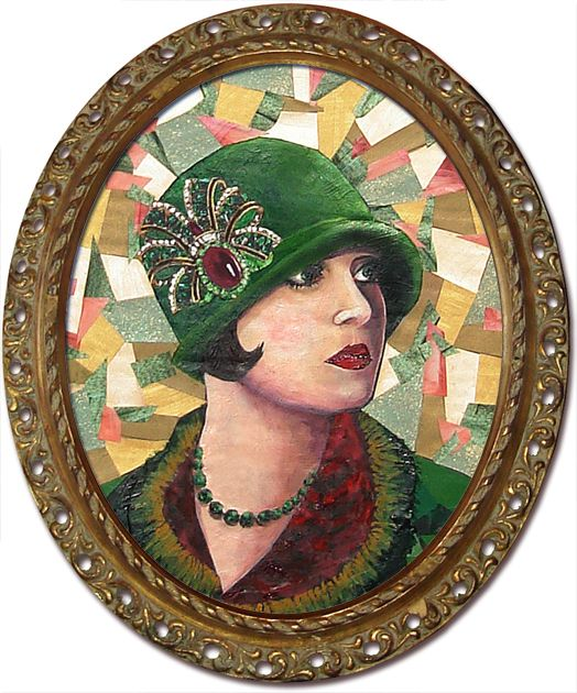 Collage portrait of a Flapper in a green hat created from a photo of a woman from the 1920s. Painting is done by recycling a variety of paper products.