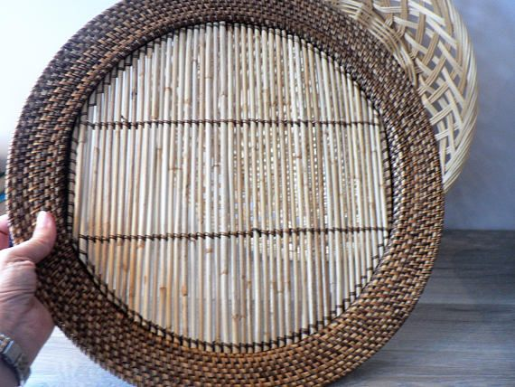 16 Inch Large Boho Flat Bamboo Woven Wall Basket / Tray