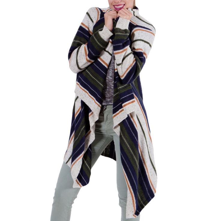 ATTRATTIVO Γυναικεία πλεκτή ζακάρ ασύμμετρη ζακέτα, μπέζ-λαδί-μπλέ