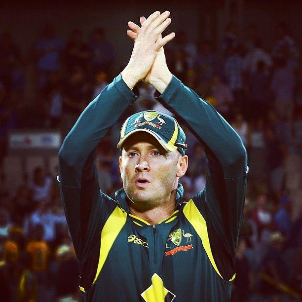 Michael Clarke salutes the Canberra crowd #CommBankODI #AUSvWI