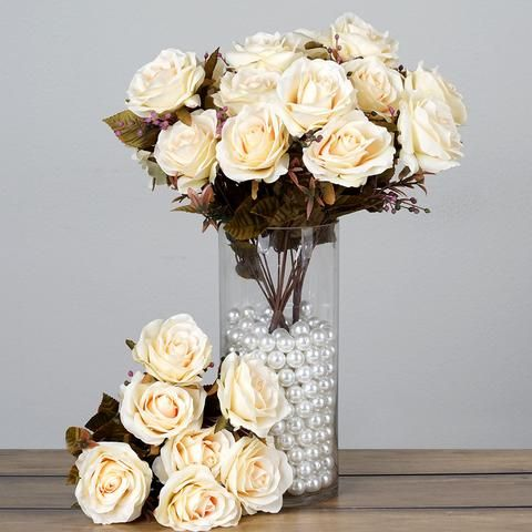 The champagne color looks off. WE can use these to alternate with the orange. Premium Realistic 9 Layer Open Rose Flower Bushes For Wedding Bridal Bouquet Vase Centerpiece Decor - Cream