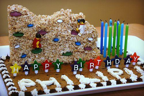 Rock Climber cake--Chocolate chip cookie cake with rice krispy rock climbing wall