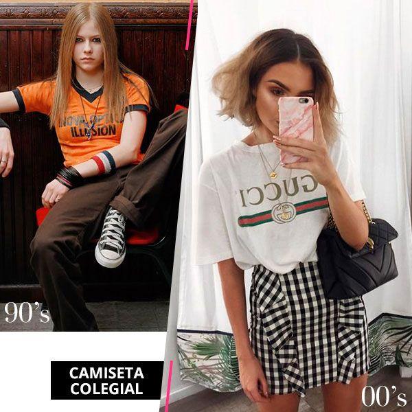 As camisetas colegial usadas nos anos 90 dão ar descolado aos looks dos dias atuais.