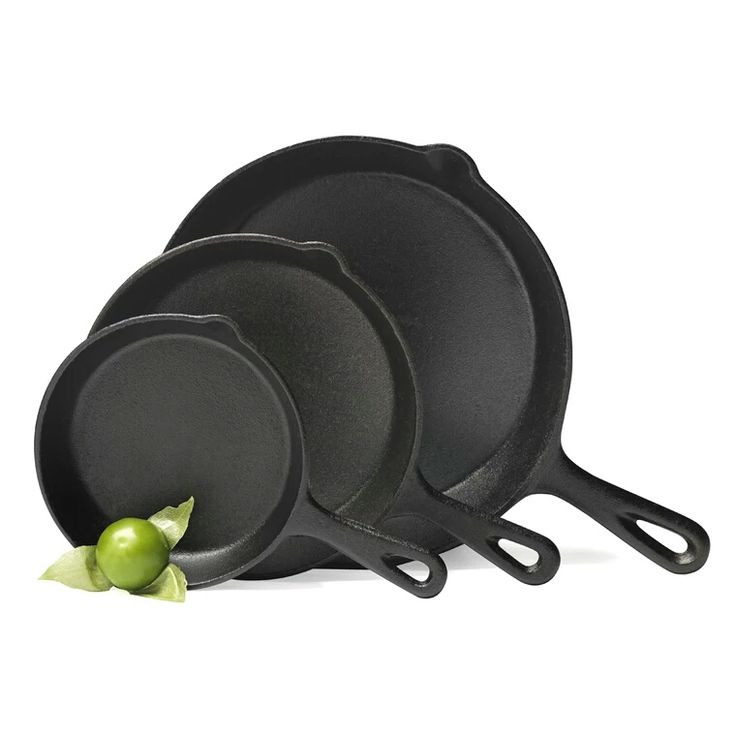 """Cookware Manufacturers 6"""" 8""""10"""" 10.25"""" pre-seasoned cast iron round skillet fry pan set"""