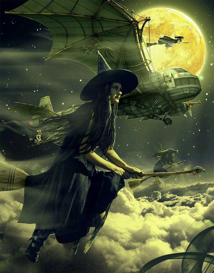 этом картинки фэнтези ведьмочки на метле или