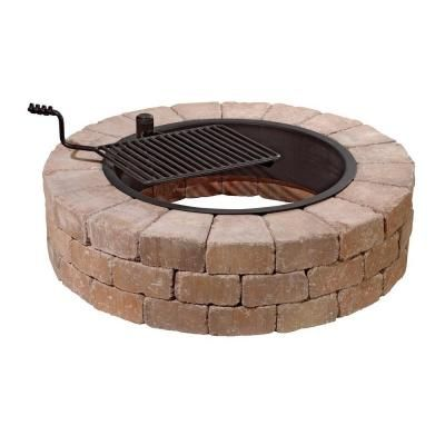 Fireplace Desert Stone Fire Pit Ring Kit With Cooking Grate