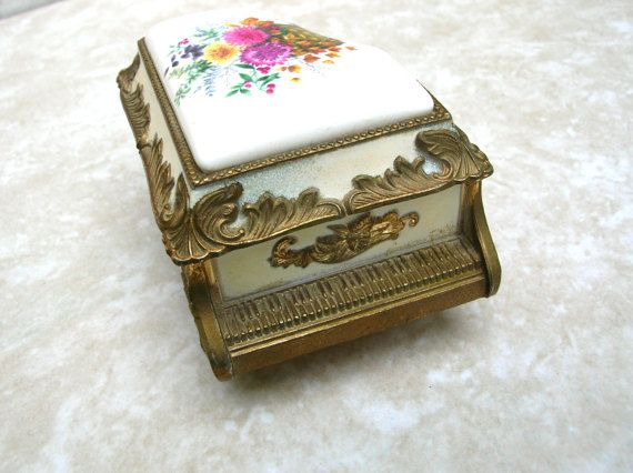 Vintage Music Box - Porcelain Japan Music Box - Music Box Dancer by BohemianGypsyCaravan