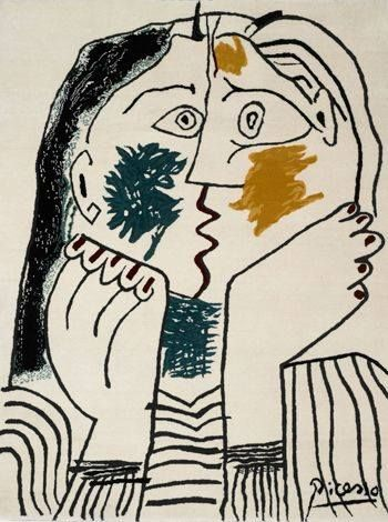 """""""The Kiss"""" by Pablo Picasso painted in response to the theory of relativity of Einstein. Picasso and Einstein had met in Paris on October 8, 1904 where they had a long discussion about the value of talent and genius before publishing the theory of relativity 1905. The painting is detecting two lovers kissing each other, but with auditing we find that Picasso draw only one mouth, and we may think it's the woman's mouth if we follow the lines of the woman's face, and we may think it's the…"""
