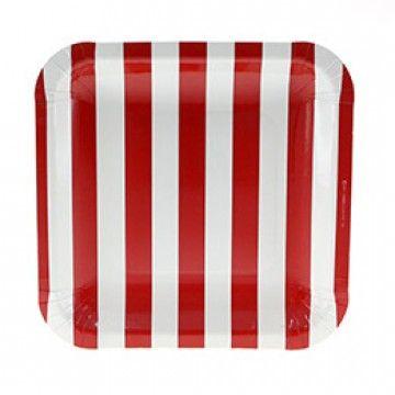 Firkantet tallerken - røde og hvide striber