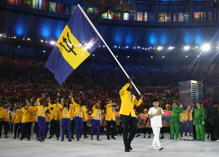 Barbados at the Opening Parade. Proud of my home team even though no medal.