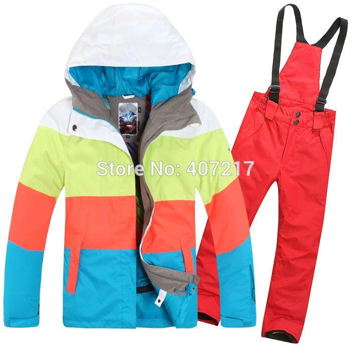 2015 новых женщин лыжный костюм от кутюр сноуборд костюм для лыжников подбора цвета полосы куртка + красные штаны водонепроницаемые дышащие 7 цветов