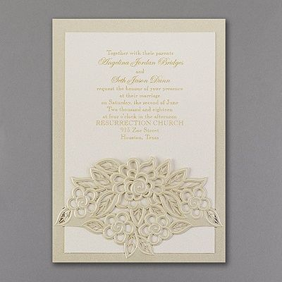 A Gold Shimmer Wrap Is Cut And Embossed With Flowers To An Ecru Wedding Invitation In Elegance