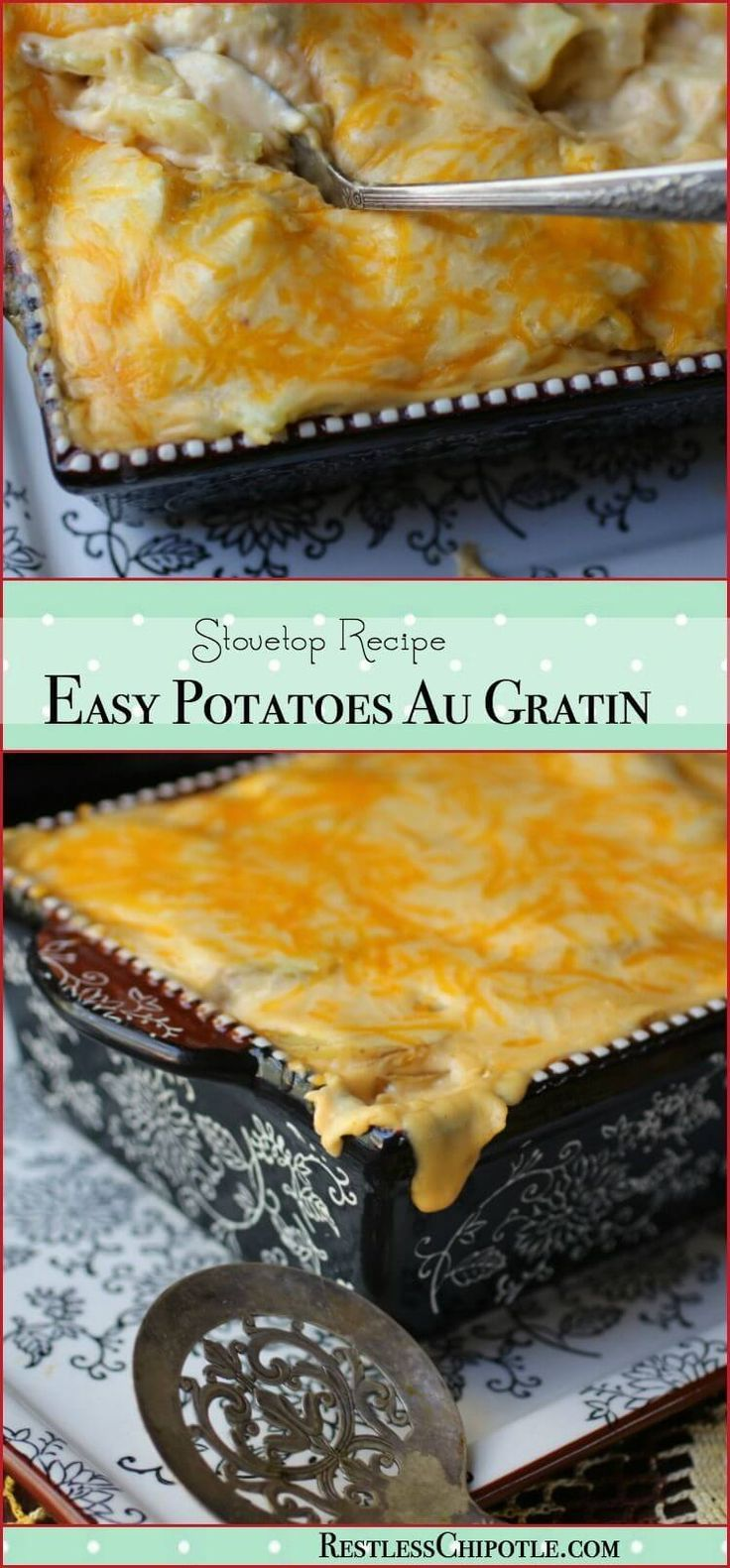 Quick and easy au gratin potatoes recipe is made right on top of the stove. SO cheesy - and finished in less than 30 minutes with these time saving tips. From RestlessChipotle.com
