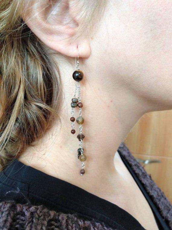 tiger earrings minimalist earrings boho earrings Minimalistic earrings with edited tiger bohemian earrings