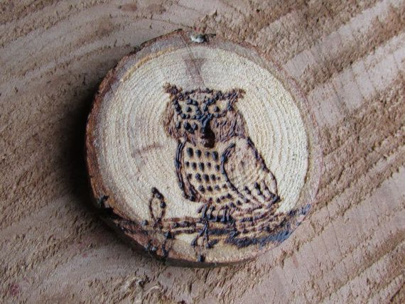 Owl Magnet Owl Refrigerator Magnet Owl on Wood by SHOREandFEATHER