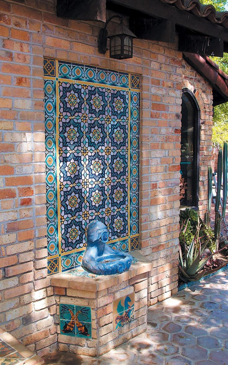 Accessories, : Charming Ideas For Home Exterior Decoration With Flower Blue  Tile Wall Fountain Including