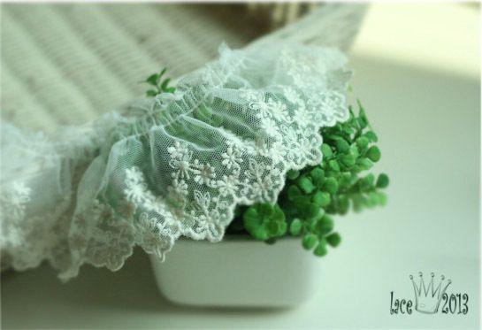 "1yds Broderie Anglaise gathered eyelet lace trim 2.7""(7cm) ivory YH1416 laceking2013 by Laceking on Etsy"