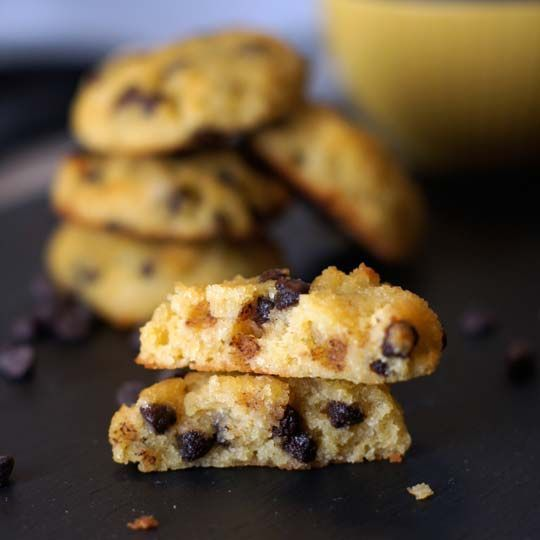 Coconut Flour Chocolate Chip Cookies. These cookies are light and cake-like, almost like a mini muffin top! via @Detoxinista