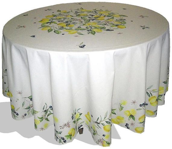 Lemons Olives Round Tablecloth Cotton Printed Table Cloth 90