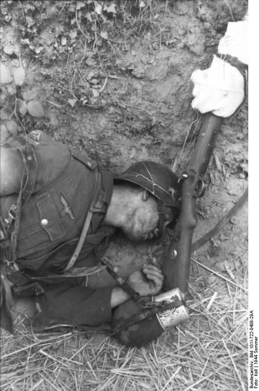 A Bundesarchiv photograph of a dead German soldier who fell in Normandy soon after D-Day. Note the bullet hole puncturing the front right temple of his helmet. (June 21, 1944)