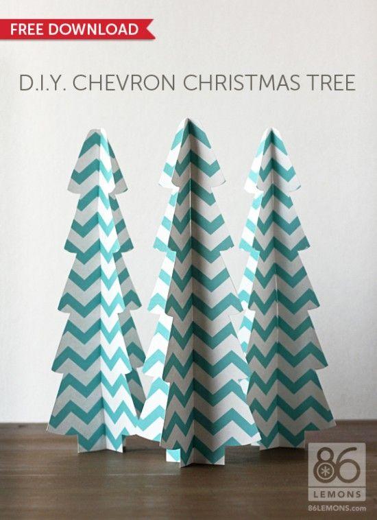 DIY Chevron ChristmasTrees from 86 Lemons