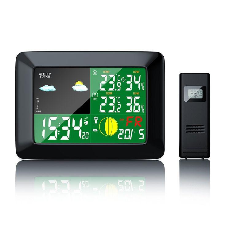 Brandson - Funkwetterstation mit Farbdisplay | zusätzlicher Außensensor | Mondphasen-Anzeige / Innen- und Außentemperatur / Wettervorhersage-Piktogramm / Tendenzanzeige uvm.: Amazon.de: Garten
