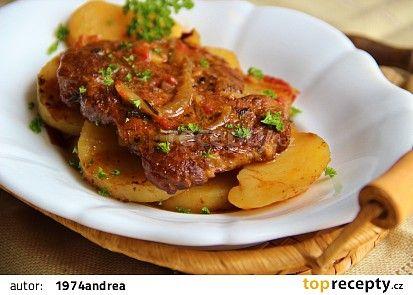 Krkovice pečená na bramborech recept - TopRecepty.cz