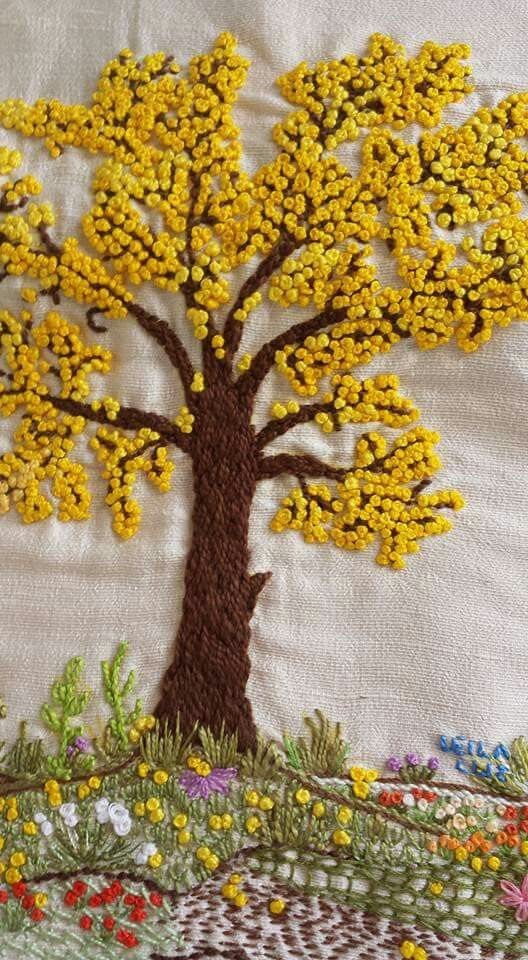 "embroidery inspiration - as flores com ""nó francês"""