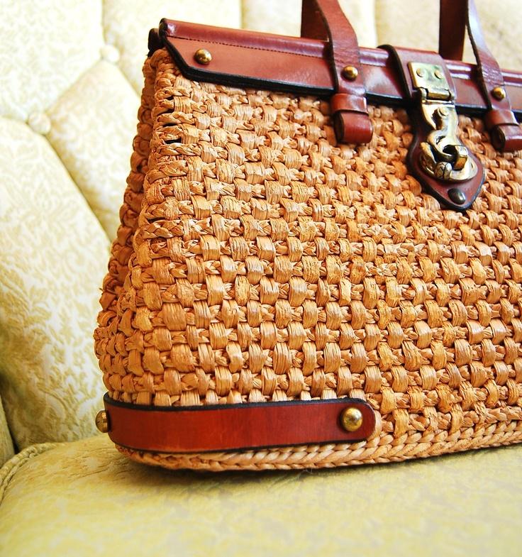 straw handbags   ... 1960s Straw Handbag - 60s Straw Handbag - Etienne Aigner Straw Basket