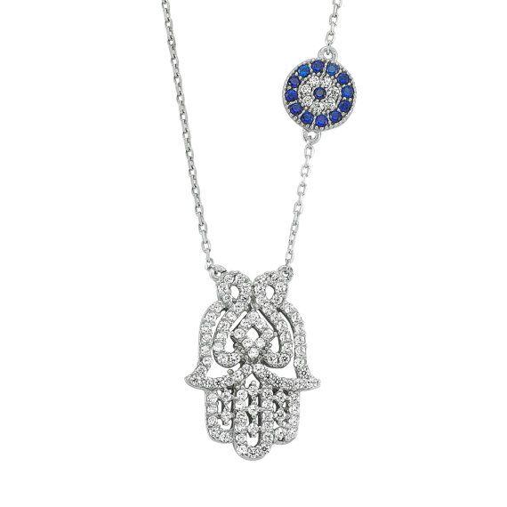 Silver Hamsa Necklace, Blue Evil Eye Necklace