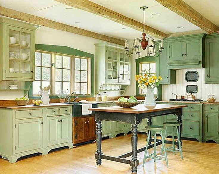 green country kitchen with farmhouse table and stools
