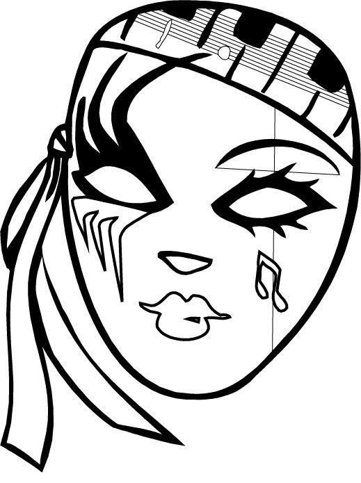 Mardi Gras Mask Colorign Pages