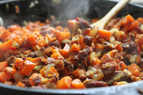 corned beef and sweet potato hash....for leftover St. Patrick's Day food.... I'd probable use white/ice potatoes instead