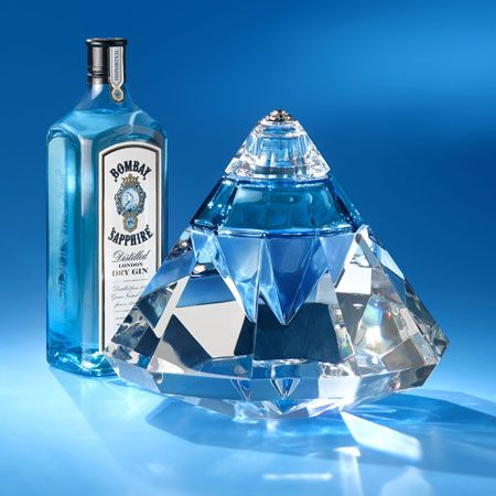 Bombay Sapphire Revelation bottles made of Baccarat crystal with diamonds and sapphires. Price: $200,000 each, there are only 5 bottles in the world.