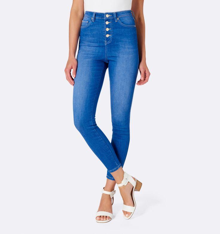 Heidi High Waist Ankle Grazer Jeans Sea Spray - Womens Fashion | Forever New - size 11