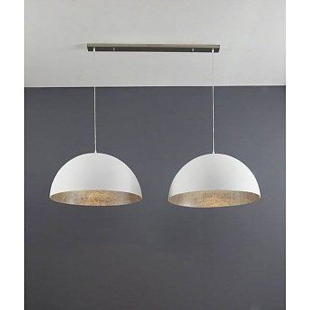 Hanglamp Mat Wit & Antiek Zilver 2 lichts 70cm