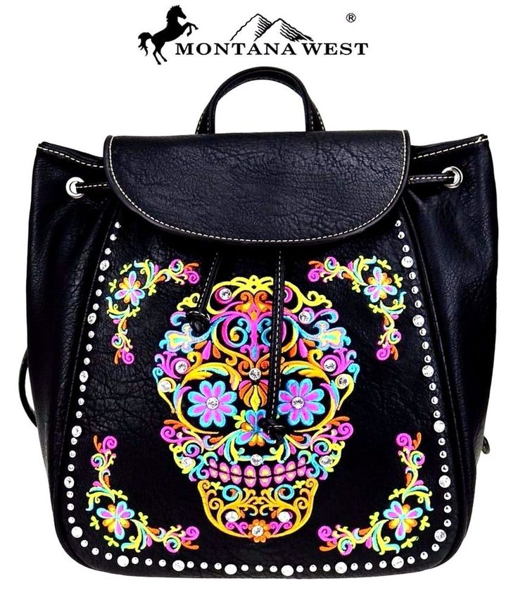 Montana West~Floral Embroidered Sugar Skull Western Backpack Purse~Goth~Punk~BLK #MontanaWest #BackpackStyle