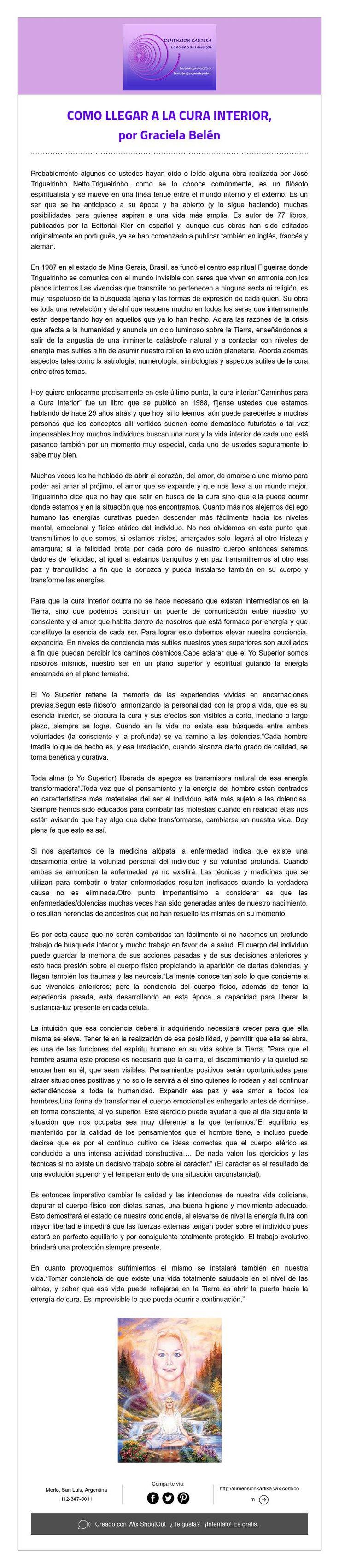 COMO LLEGAR A LA CURA INTERIOR,   por Graciela Belén