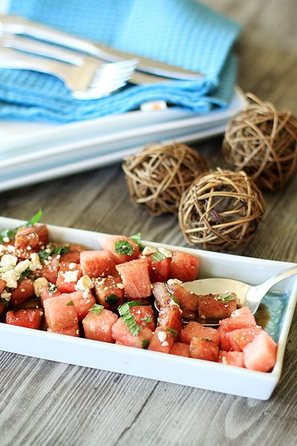 Watermelon, mint & feta: Summer Ready Watermelon, Watermelon Feta, Mint Salad, Food, Summer Salads, Recipes Community, Happy Recipes, Watermelon Recipes, Balsamic Glaze