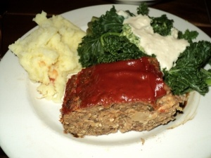 No-oil Vegan Lentil Meat Loaf with Mashed Potatoes and Steamed Kale with Cashew Cream Sauce from Engine 2 Diet by Rip Esselstyn (recipe  is on Martha Smith's plant strong pinterest board)