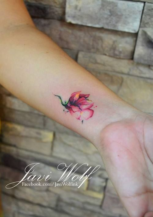 Watercolor technique for flower tattoo