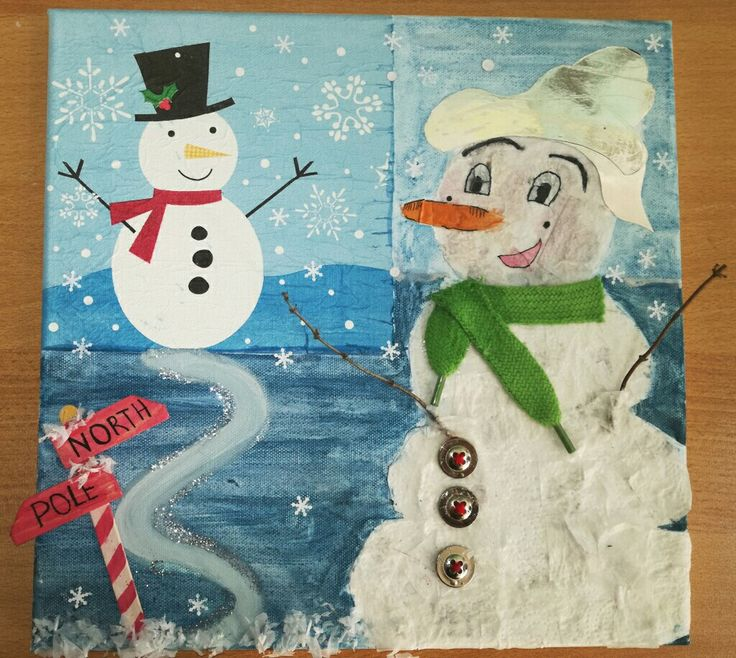 DIY Snowmen mixed media canvas art