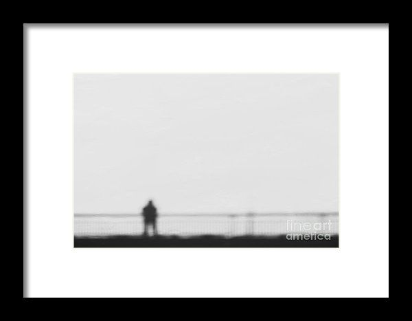 Man On A Bridge Abstract Shadow On Snow Framed Print