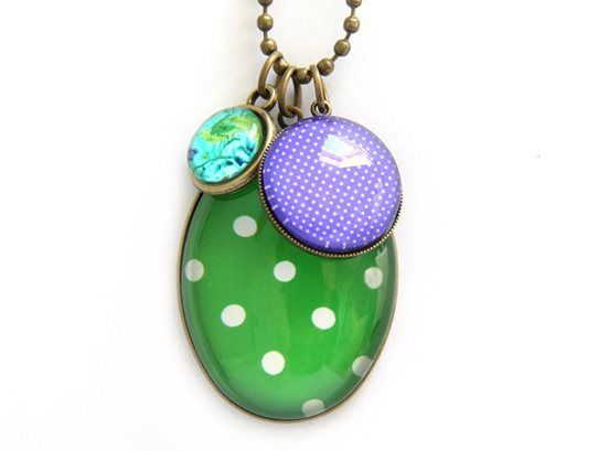 Green PolkaDot Cluster Necklace www.cloudninecreative.co.nz