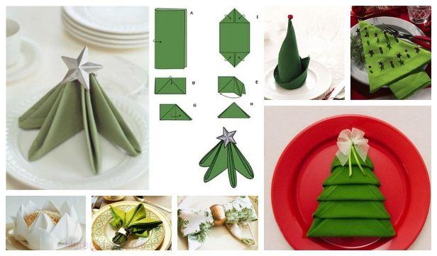 20 Best Diy Napkin Folding Tutorials For Christmas Christmas Napkin Folding Christmas Diy Tutorials Christmas Tree Napkin Fold