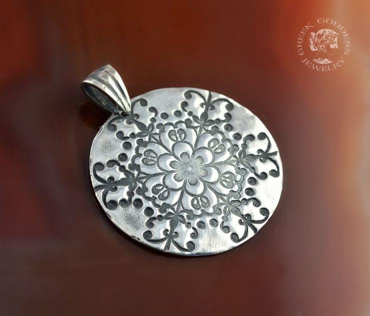 snowflake silver pendant, snowflake pendant, snowflake necklace, pendant with snowflake, silver pendant by GreekGoddessJewelry on Etsy