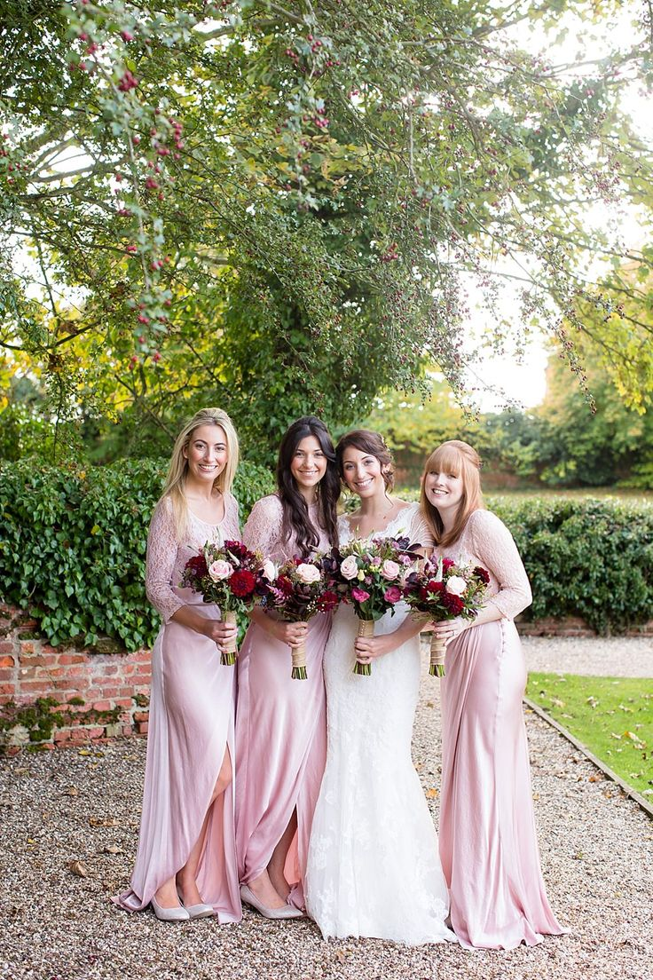 Bridesmaids in pink satin Ghost Dresses - Image by Katherine Ashdown - Blue By Enzoani Gown And Allure By Jimmy Choo Shoes For A Rustic Autumn Wedding At Leez Priory Essex With Bridesmaids In Pale Pink Ghost Dresses And Images From Katherine Ashdown